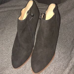 Suede and wooden Halogen booties. Size 7.